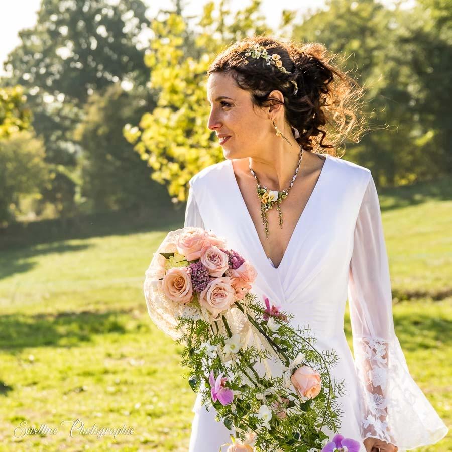 Portrait de la mariée en extérieur