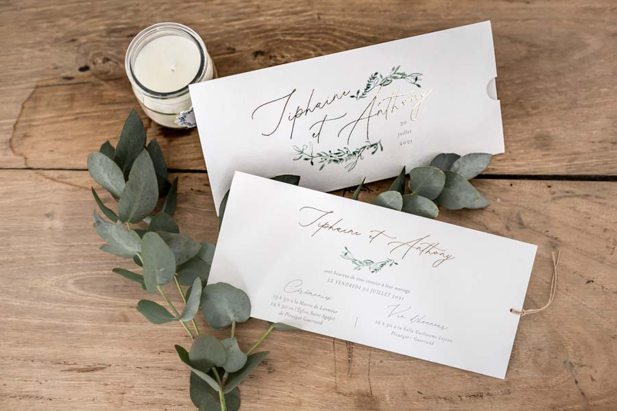 Papeterie faire-part de mariage chic et champetre eucalyptus